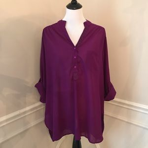 Dots Beaded Purple Cuffed Sleeve Tunic Blouse 2x